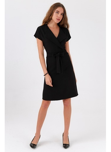 Jument Madlen Şal Yaka Düşük Omuzlu Kiloş Elbise Siyah